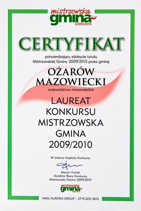 Certyfikat Mistrzowska Gmina (2009-2010)