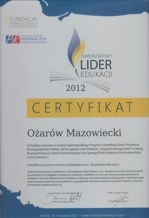 Certyfikat-Ożarów Mazowiecki Samorządowym Liderem Edukacji 2012