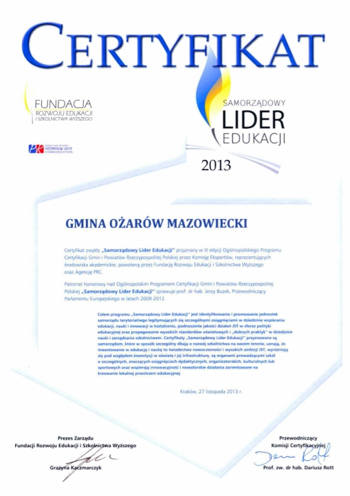 Certyfikat-Ożarów Mazowiecki Samorządowym Liderem Edukacji 2013