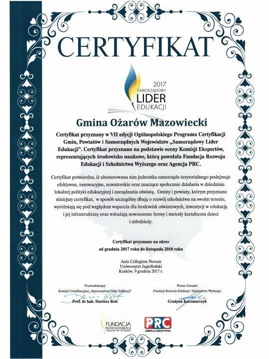 Certyfikat-Ożarów Mazowiecki Samorządowym Liderem Edukacji 2017