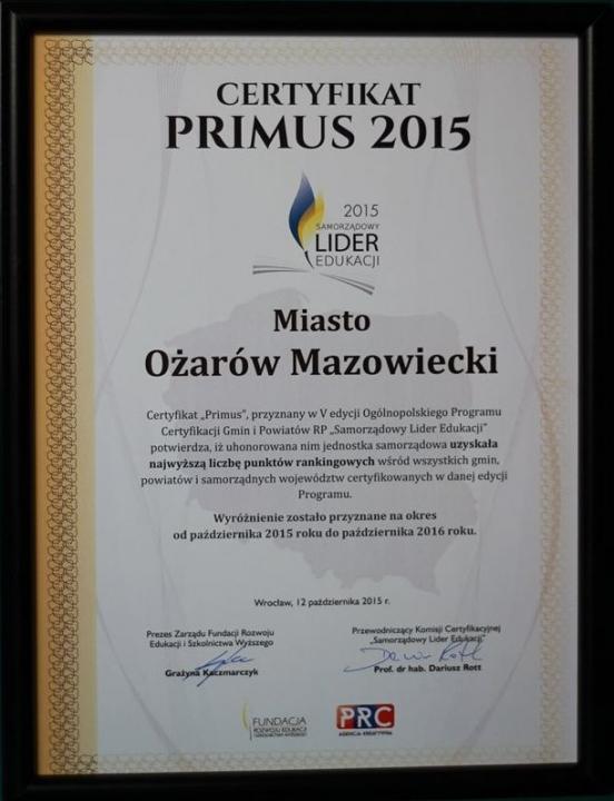 Certyfikat Primus (2015)