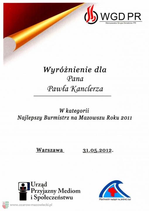Najlepszy Burmistrz na Mazowszu (2011)